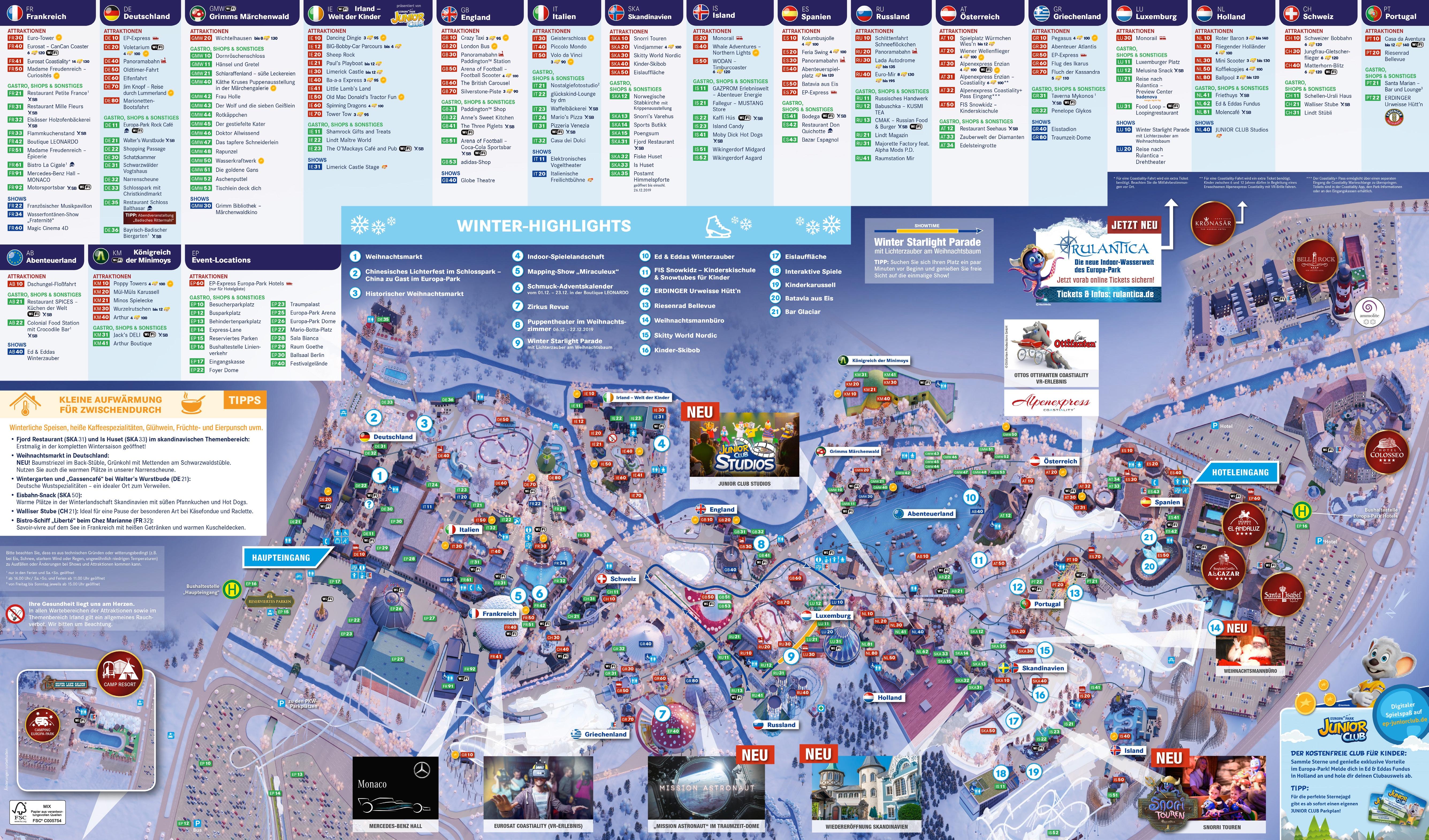 Parkmaps Parkplan Plattegrond Europa Park Freizeitpark Welt De