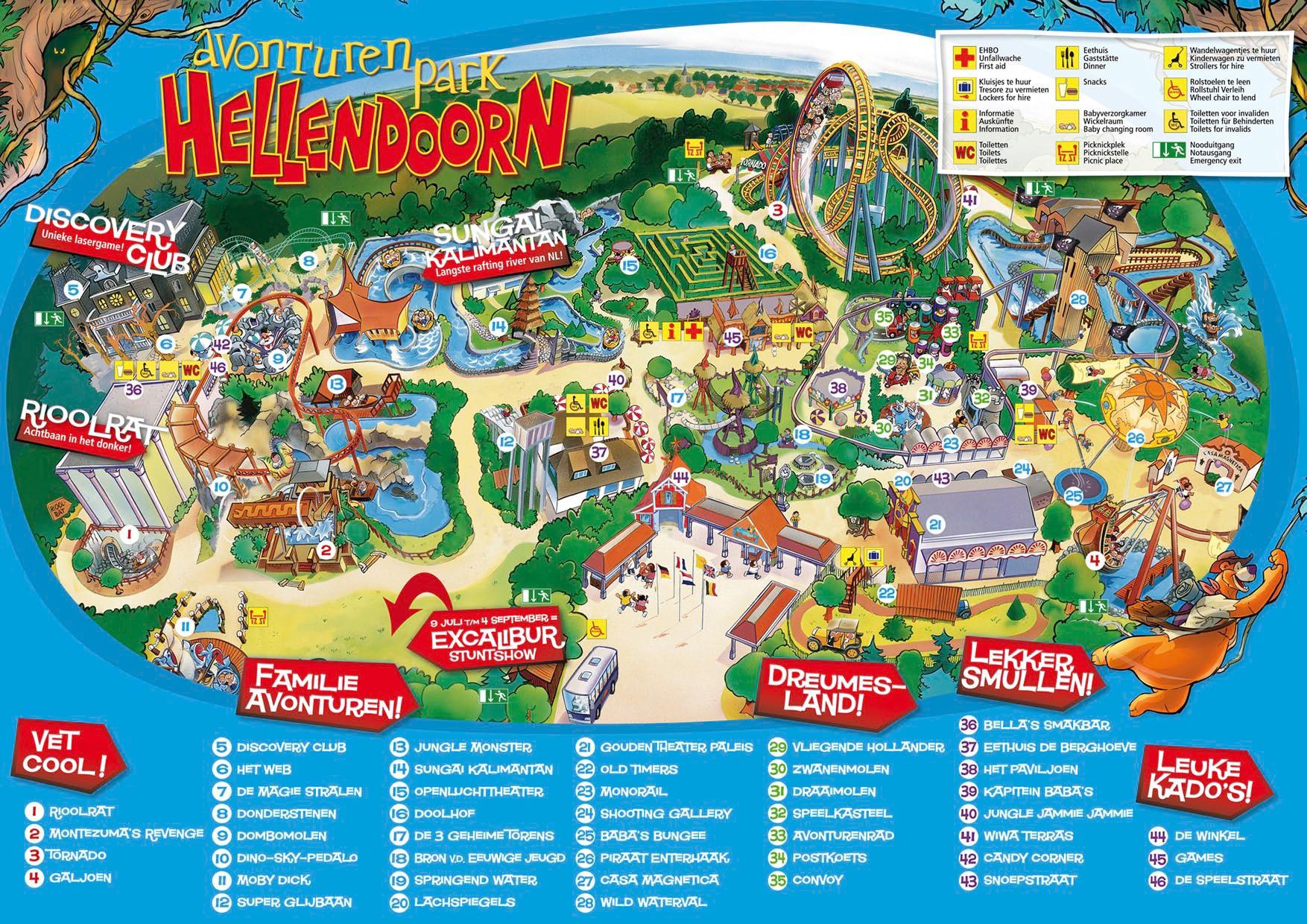 Parkmaps Parkplan Plattegrond Avonturenpark Hellendoorn