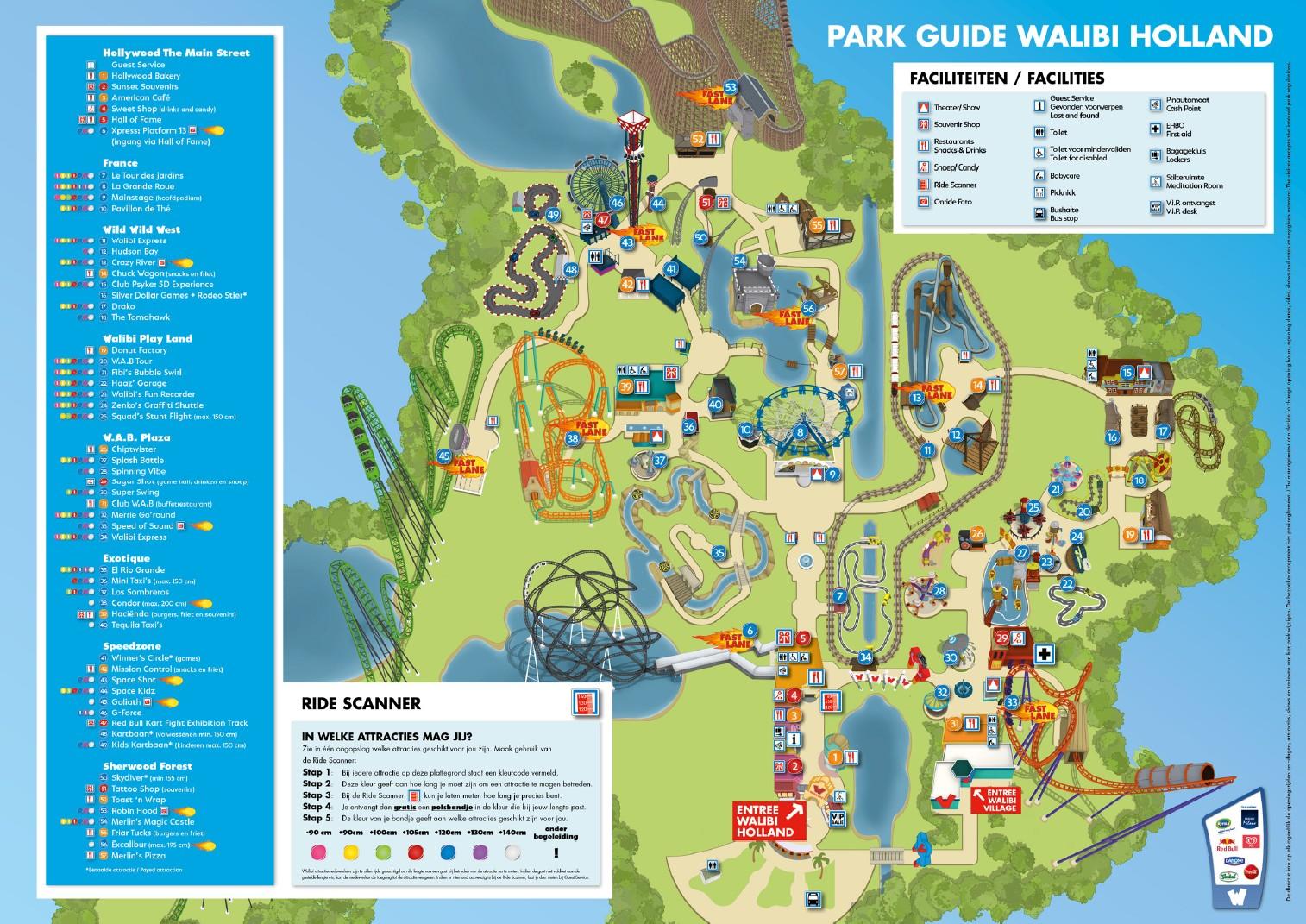 Parkmaps Parkplan Plattegrond Walibi Holland Freizeitpark