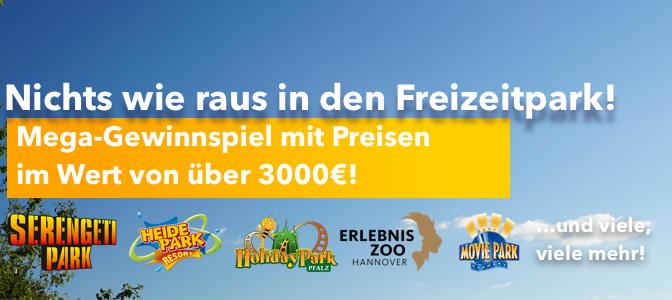 Gewinnt einen Eintritt in einen von 25 Freizeitparks in ganz Deutschland. Jeweils 4 Freikarten gibt es zu gewinnen!