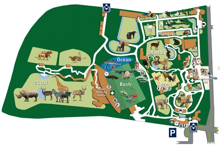 zoo holland karte Parkmaps / Parkplan / Plattegrond   Burgers' Zoo   Freizeitpark